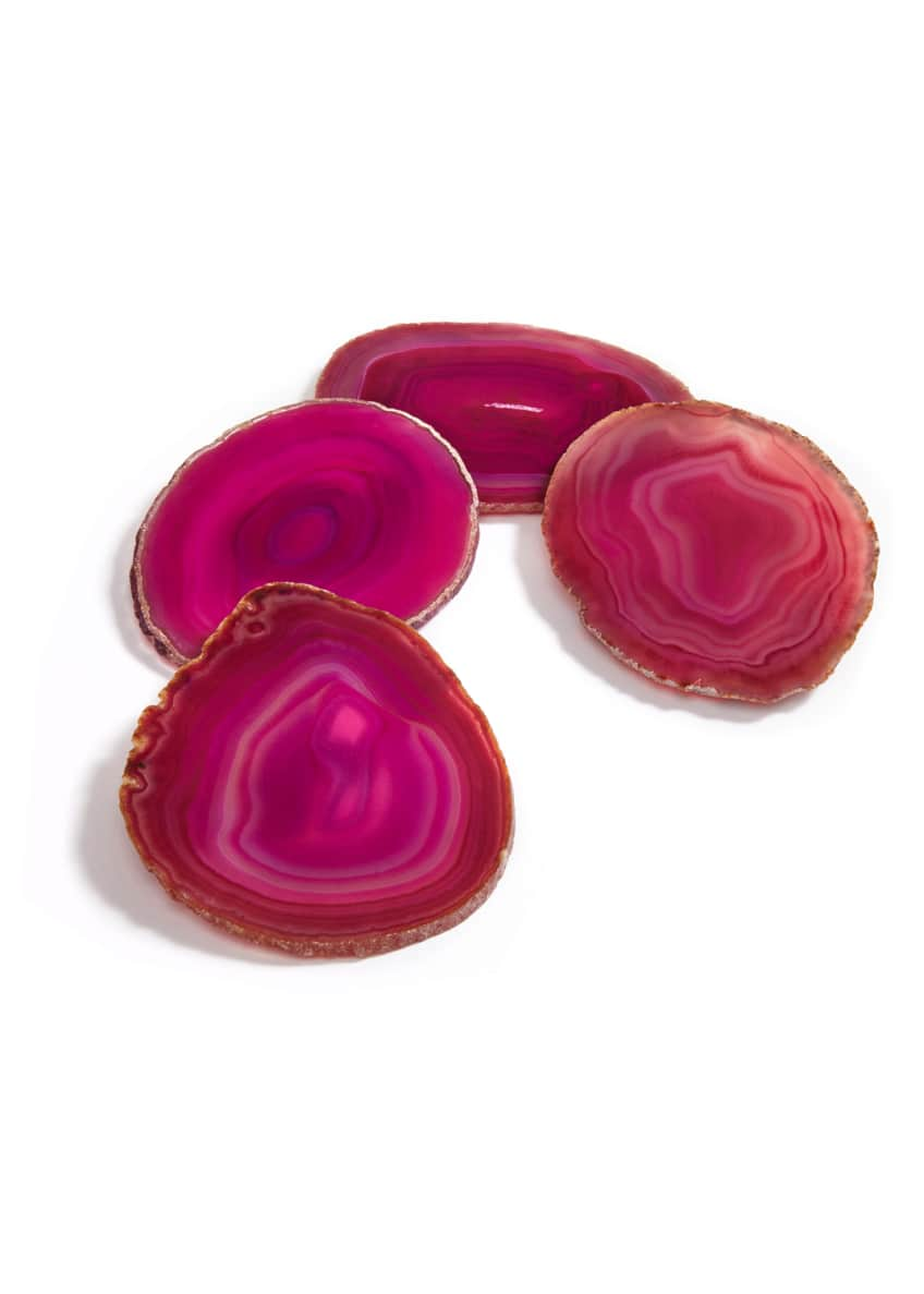 Image 1 of 1: Fuchsia Agate Coasters, Set of 4