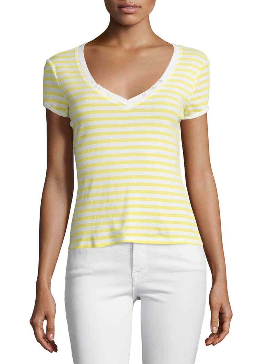 FRAME Le Button V-Neck Striped Tee & Le