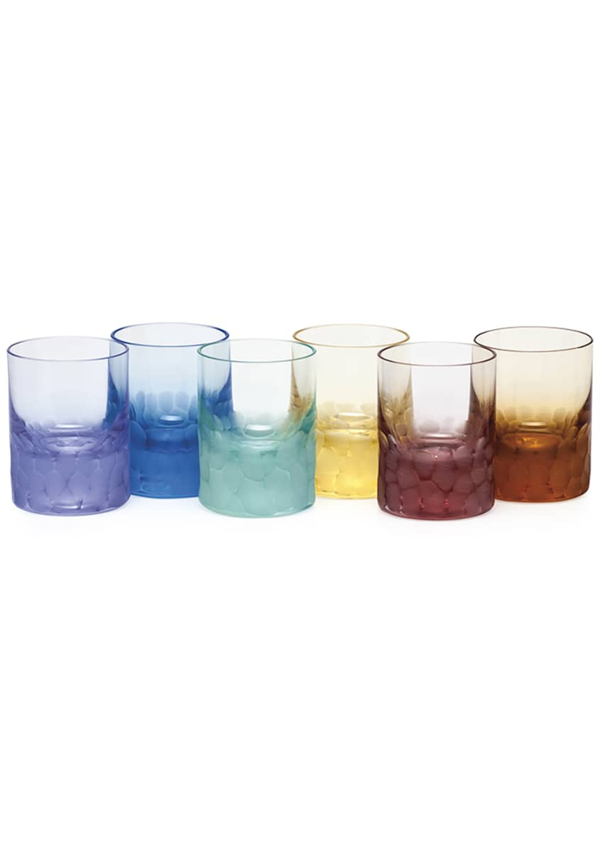 Image 1 of 1: Set of Six Pebbled Crystal Shot Glasses