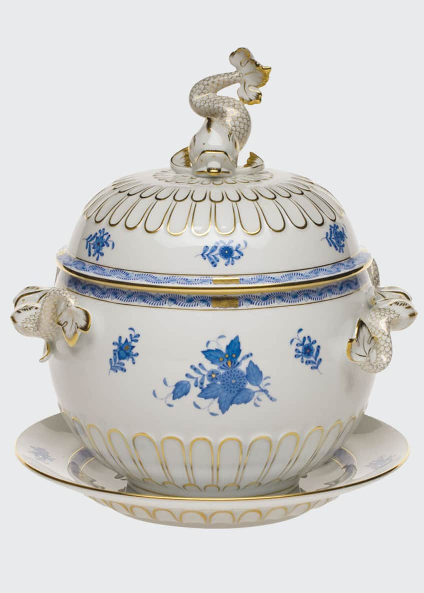 Herend Chinese Bouquet Blue Tureen and Platter