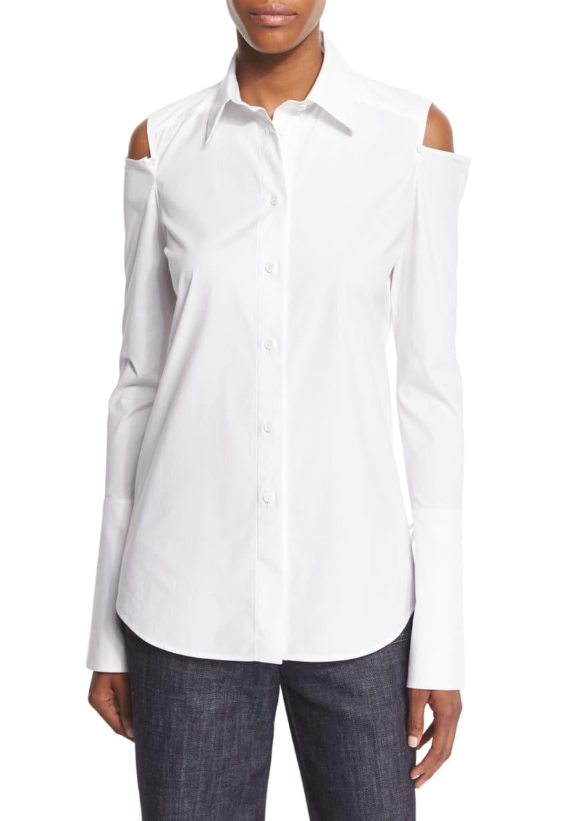 Derek Lam Wool-Blend Bell-Sleeve Coat, Long-Sleeve Cold-Shoulder