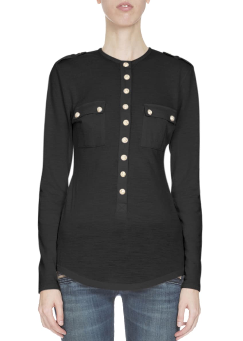 Balmain Long-Sleeve Two-Pocket Top & Cotton Denim Moto