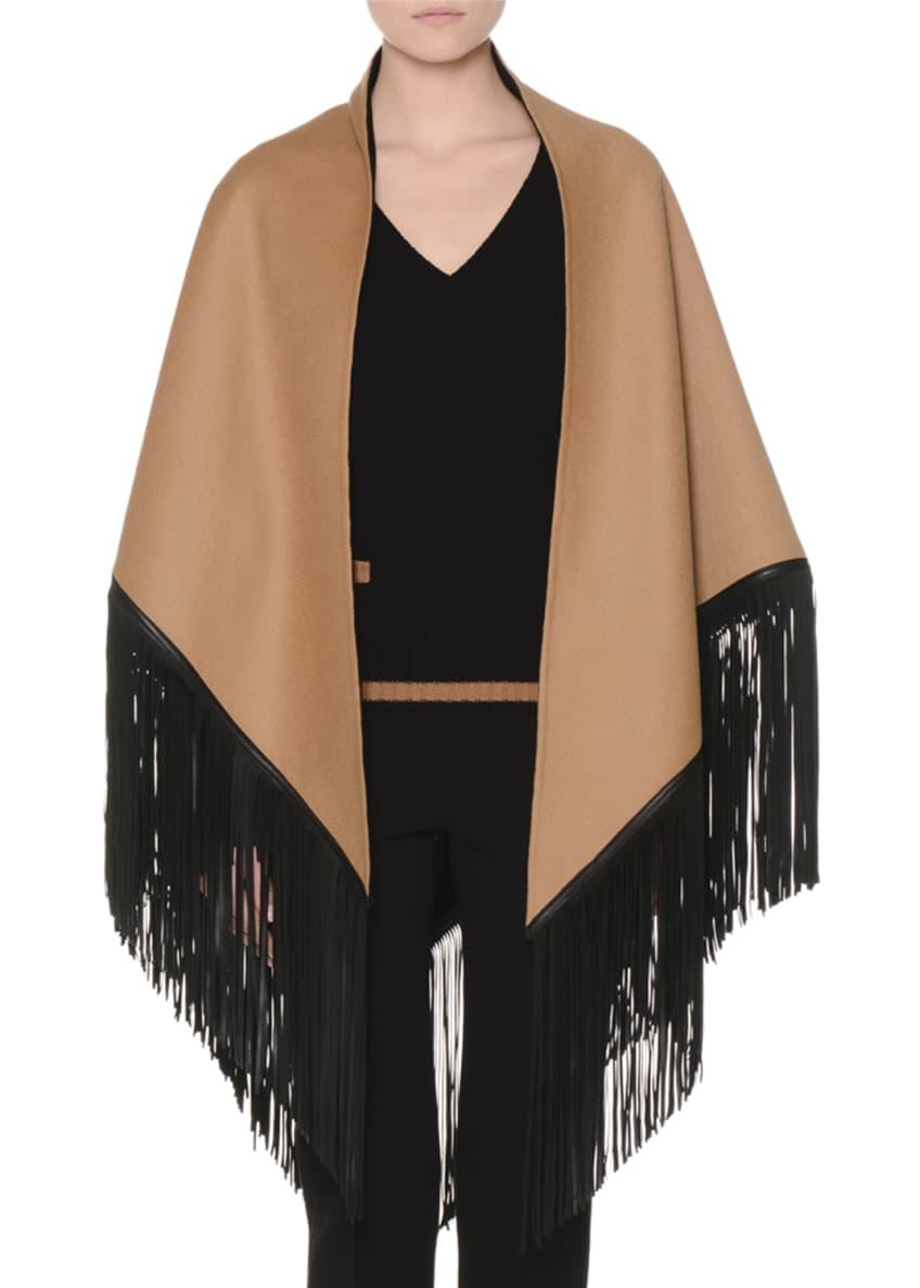Agnona Lana Reversible Poncho w/Leather Fringe, Long-Sleeve