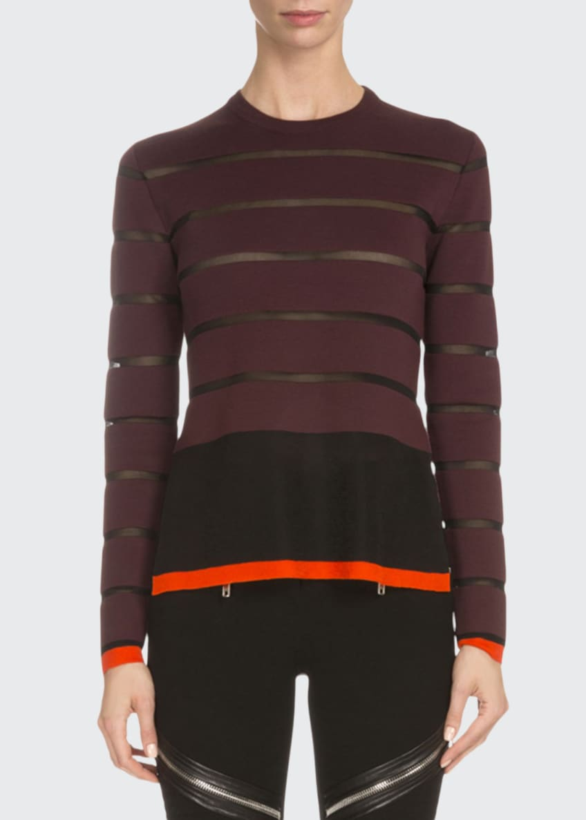 Givenchy Long-Sleeve Wool-Striped Sweater & Asymmetric Zip-Detail