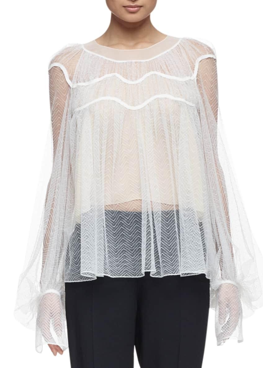 Chloe Herringbone Lace Long-Sleeve Blouse & Straight-Leg Cady