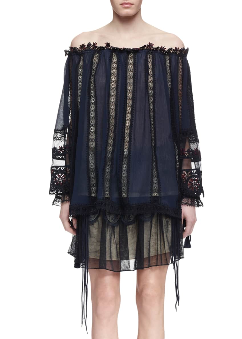Chloe Off-the-Shoulder Guipure Lace Top & Tulle Lace