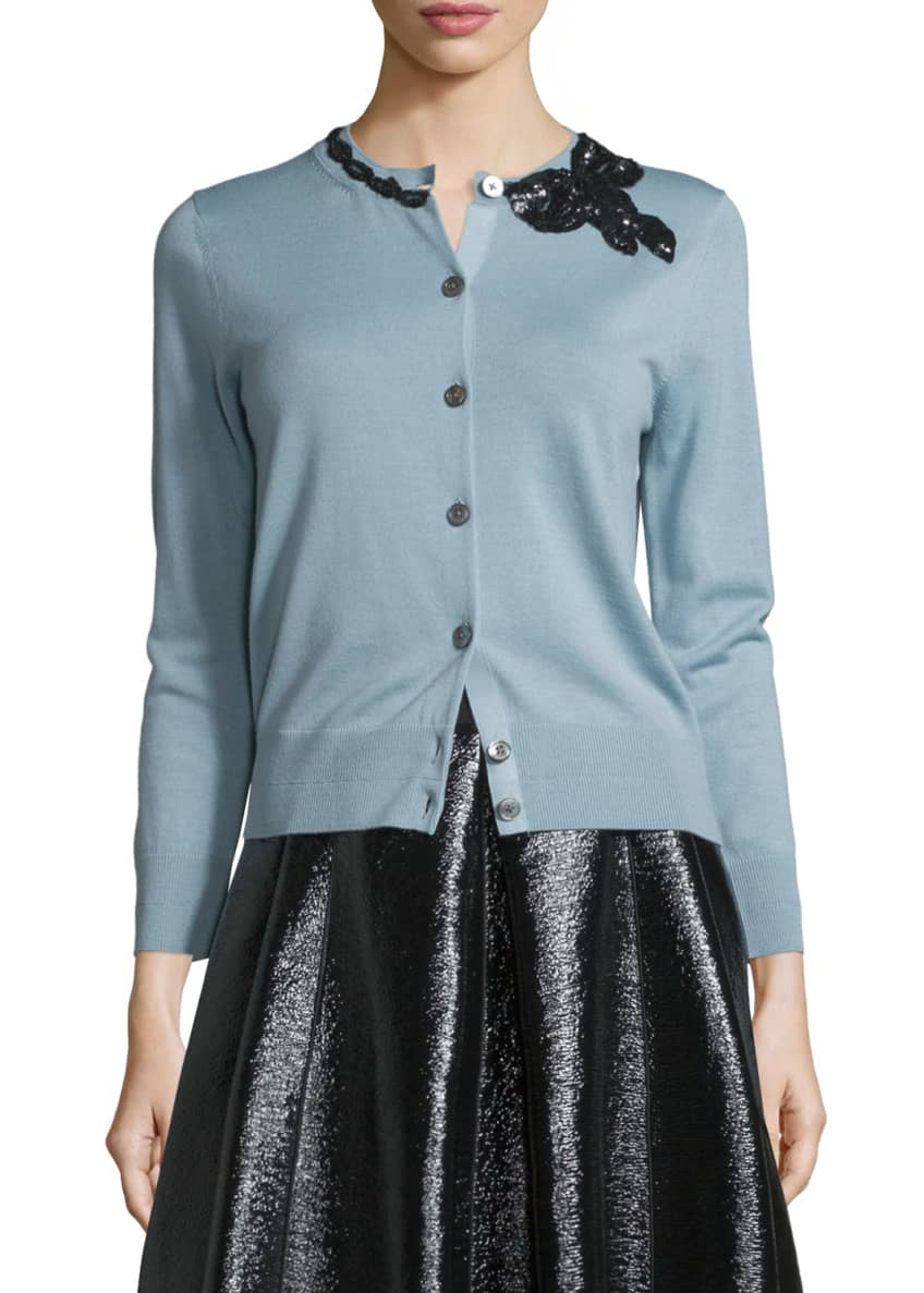 Marc Jacobs Merino Wool Cardigan w/Sequined Bow Detail