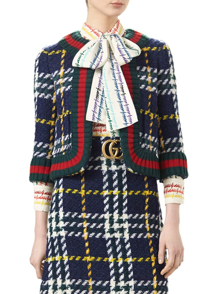 Gucci Cropped Wales-Check Blazer, Gucci-Print Silk Shirt &