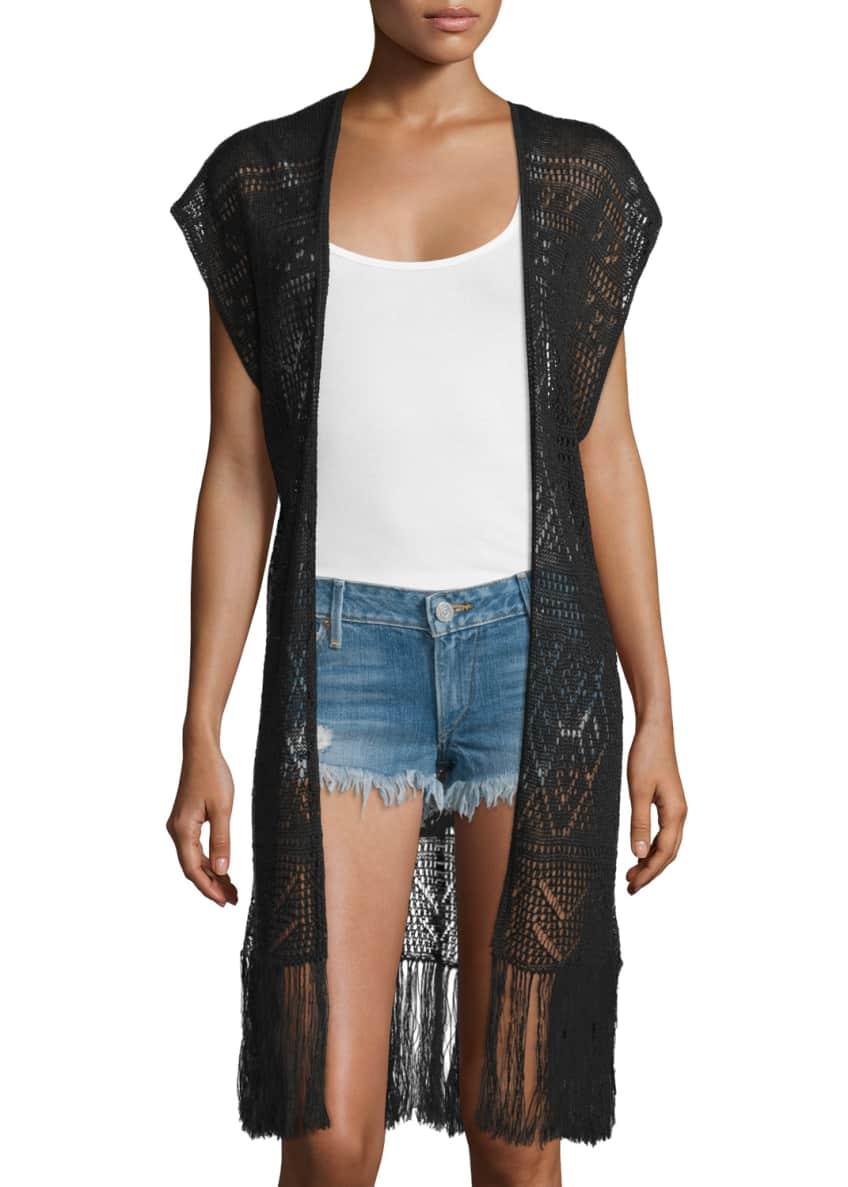 Alice + Olivia Crochet Dru Fringe Vest &