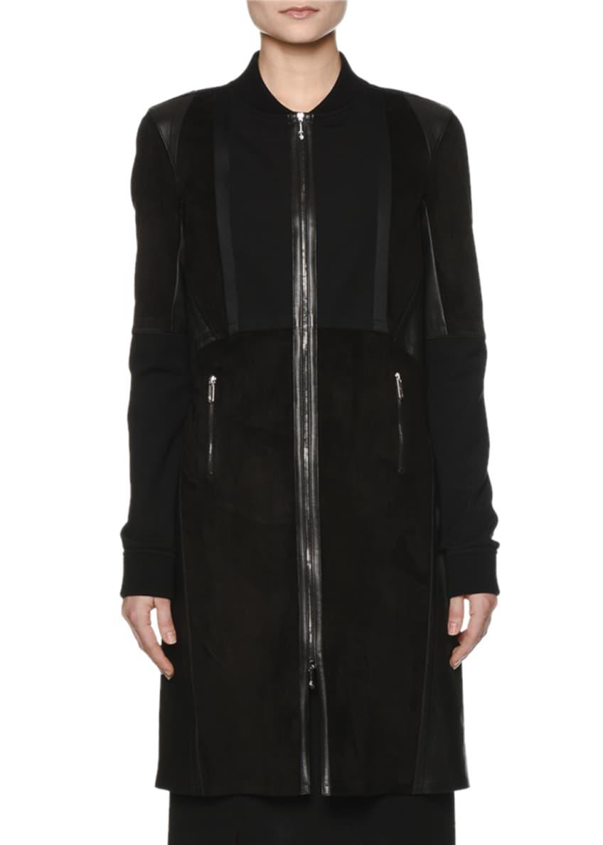 Callens Long Leather Bomber Coat & Sleeveless Jersey