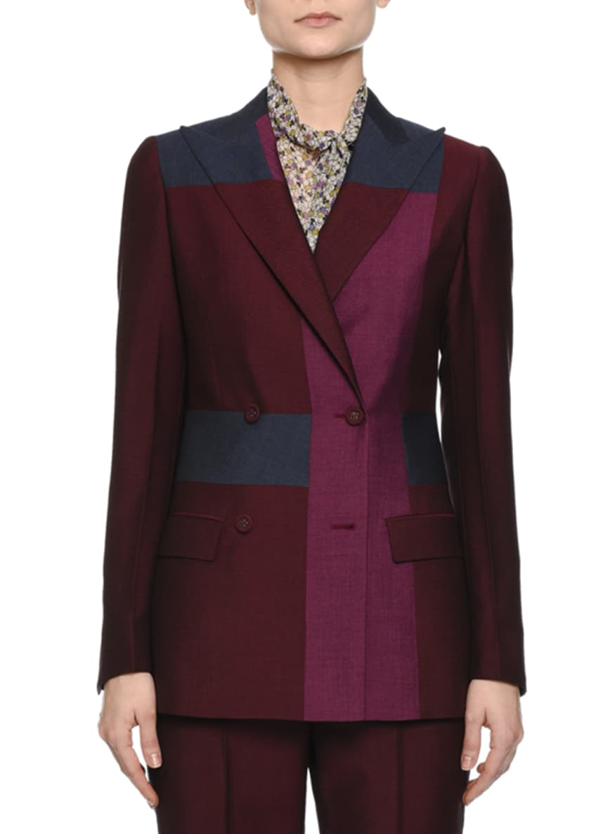 Bottega Veneta Colorblock Double-Breasted Jacket, Tie-Neck