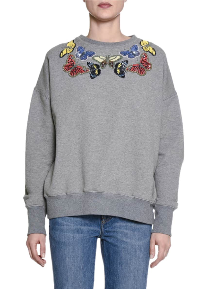 Alexander McQueen Butterfly-Embellished Cotton Sweatshirt &