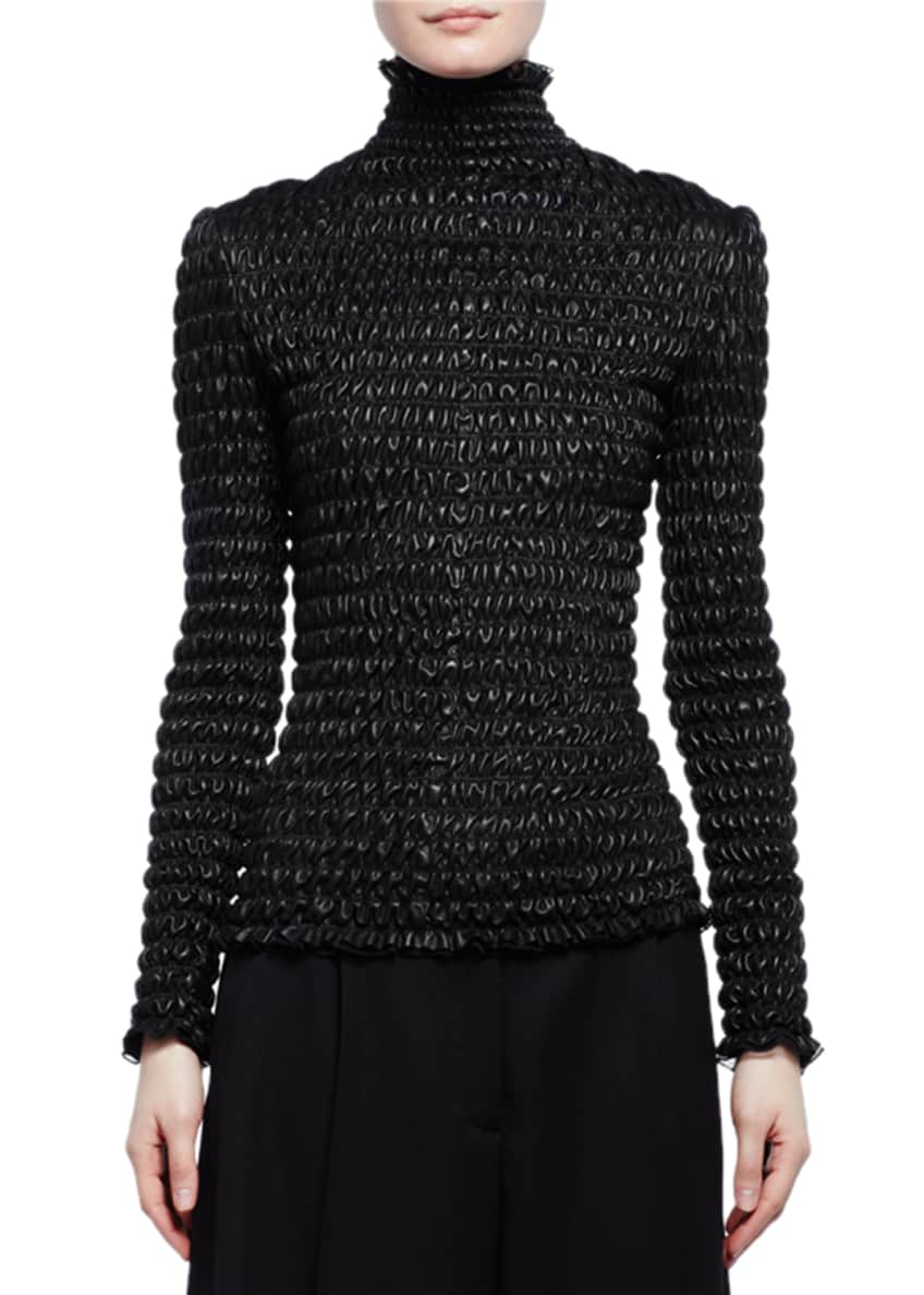 Alexander McQueen Ruched Leather Turtleneck Top & Cropped