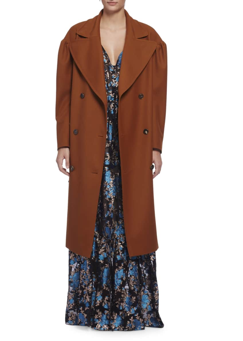 Lanvin Long-Sleeve Silk Trenchcoat & Sleeveless Floral Jacquard