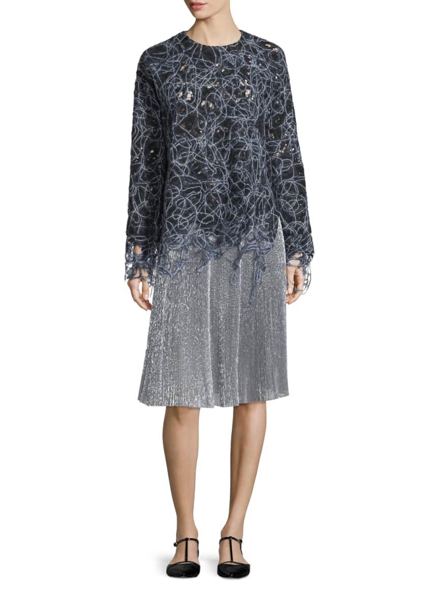Adam Lippes Long-Sleeve Raw-Edge Lace Sweatshirt & Metallic