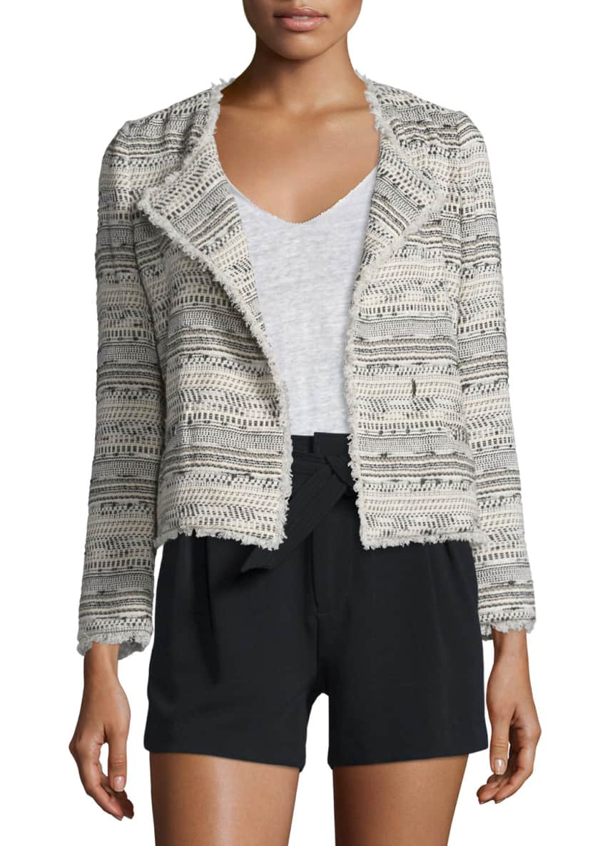 Joie Nicols Multicolored Tweed Jacket, Lata V-Neck Linen