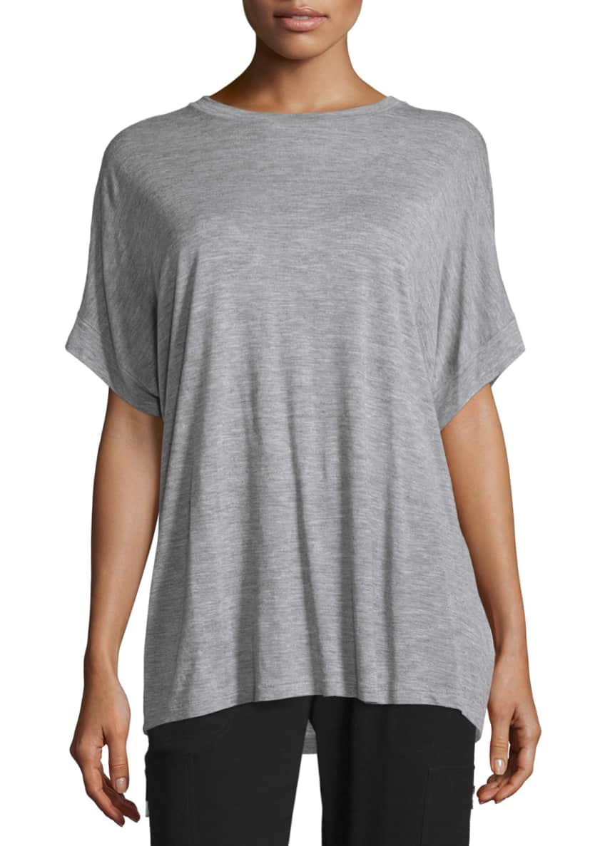 Vince Cuffed-Sleeve Heathered Cocoon Top & Pull-On Cargo