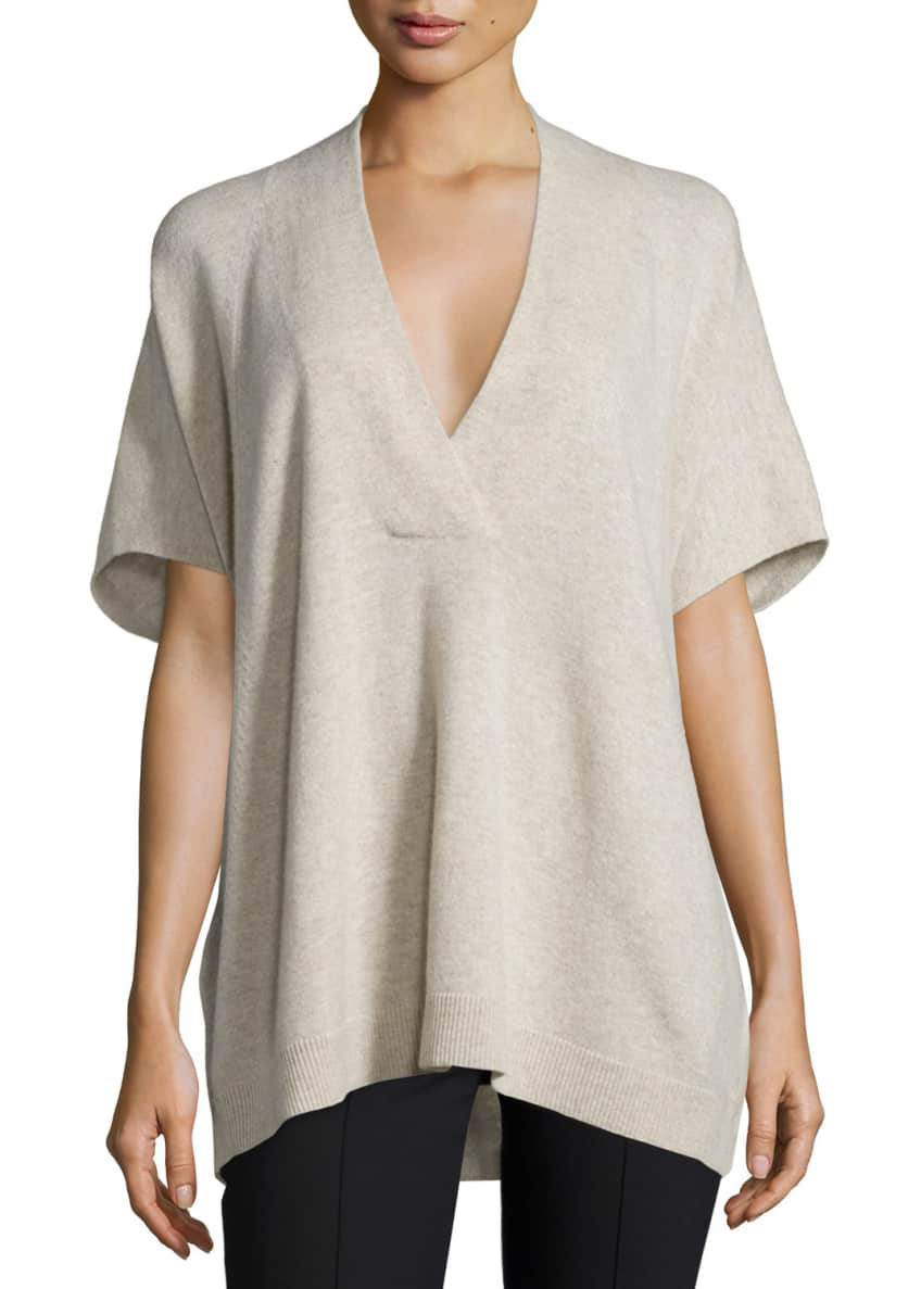 Vince Oversized V-Neck Short-Sleeve Sweater & Seamed