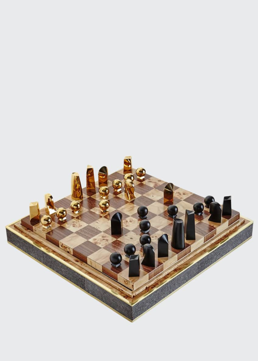 AERIN Chocolate Faux-Shagreen Chess Set