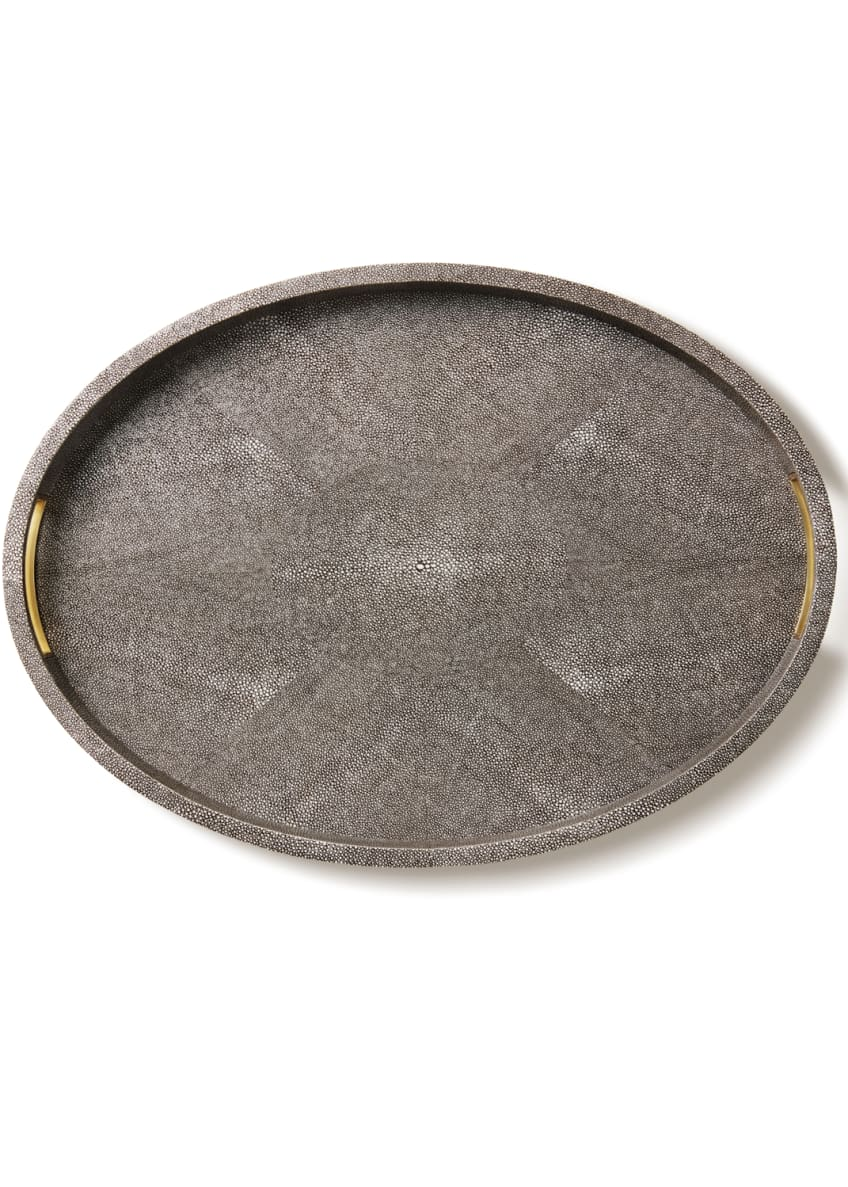 AERIN Modern Chocolate Faux-Shagreen Tray