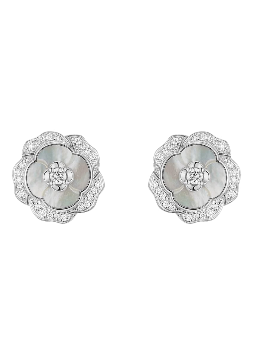 Image 2 of 2: BOUTON DE CAMELIA Earrings in 18K White Gold, Cultured Pearls, Mother-of-pearl and Diamonds