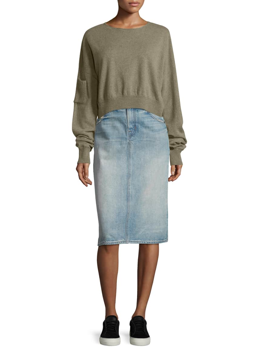 Helmut Lang Cropped Seamless Cashmere Sweater & Faded