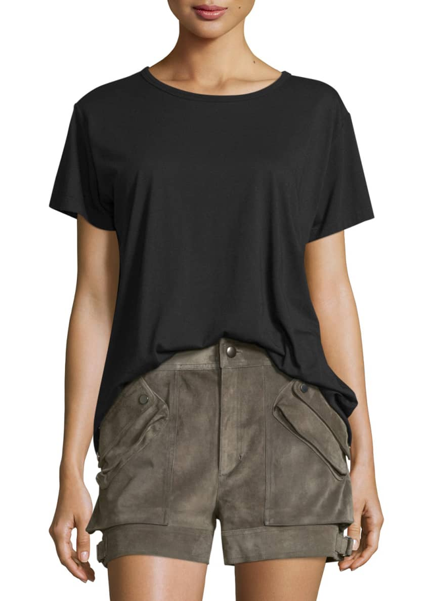 Helmut Lang Open-Back Jersey Tee & Suede Buckled