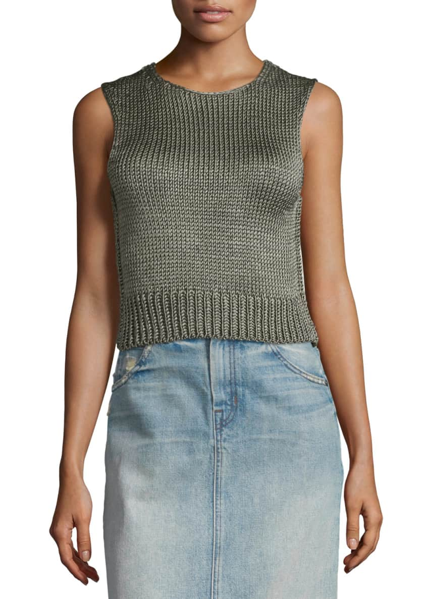 Helmut Lang Cropped Silk Shell Tank & Faded