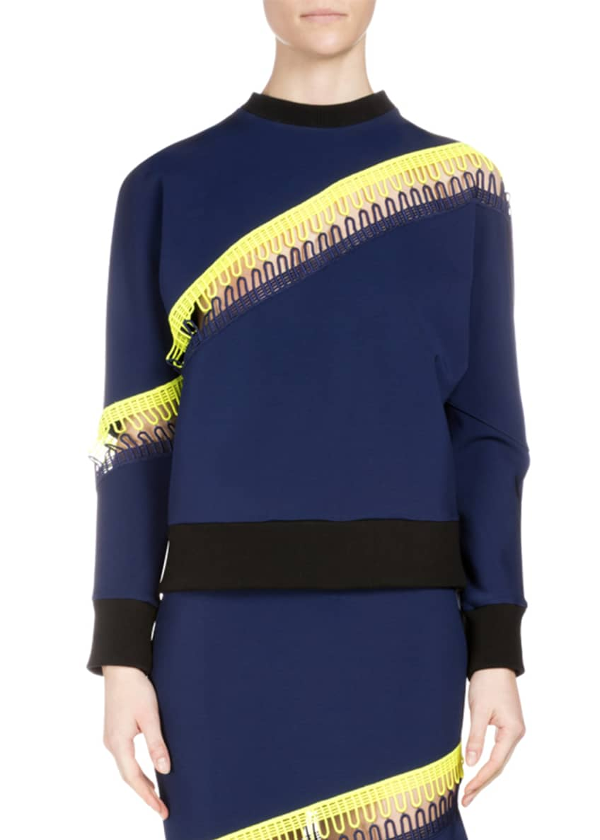 Christopher Kane Crewneck Sweater w/Neon Stripe Detail &