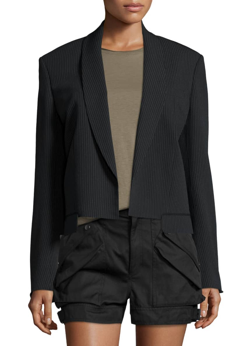 Helmut Lang Ribbed Shawl-Collar Cropped Jacket, Distressed-Sleeve