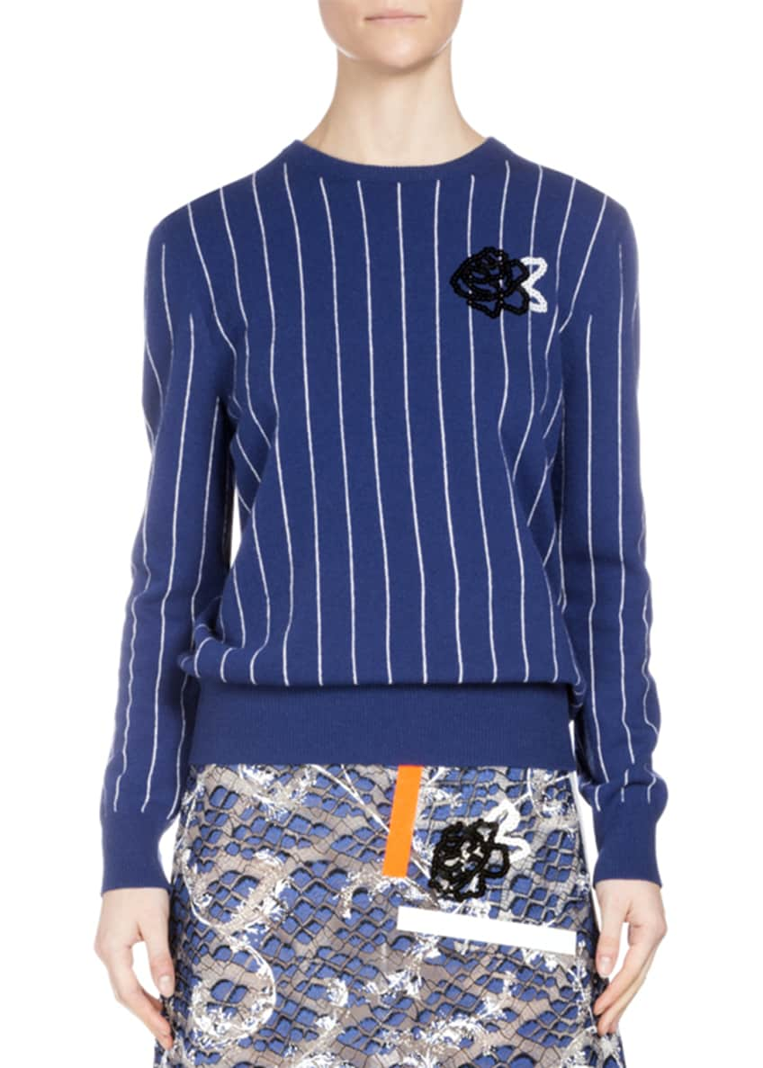 Christopher Kane Striped Wool Sweater w/Sequin Rose &