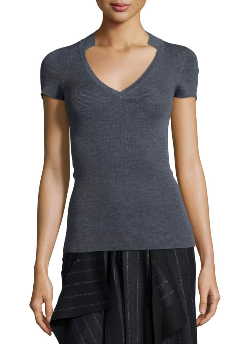 Cedric Charlier Knit Notch-Collar Short-Sleeve Sweater &