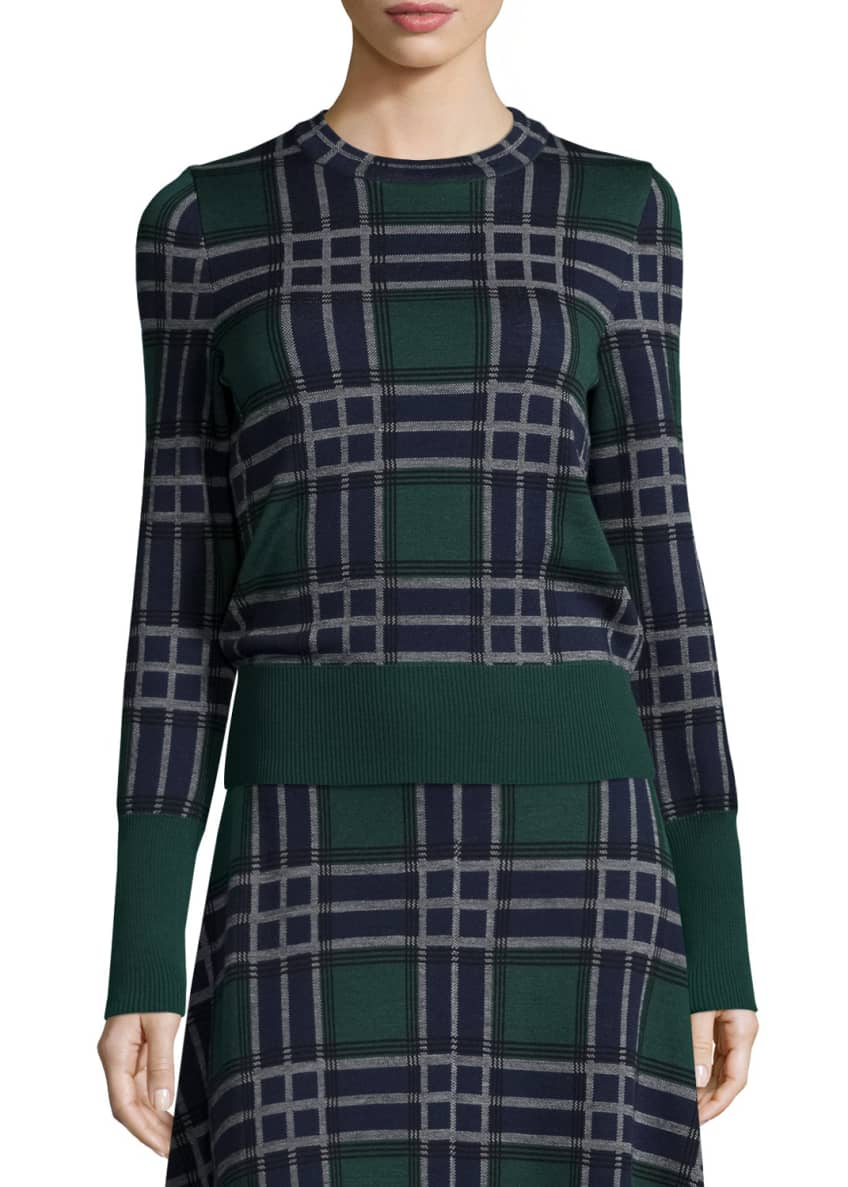 Cedric Charlier Knit Plaid Wool Sweater & Knit