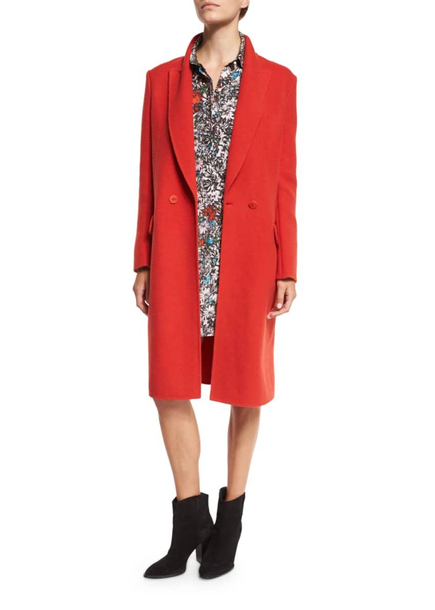 Cedric Charlier Mid-Length Wool Coat & Long-Sleeve Floral-Print