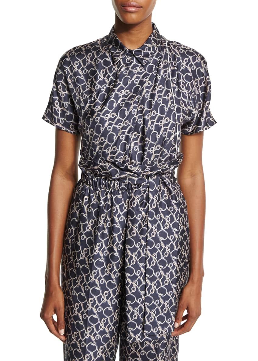 3.1 Phillip Lim Printed Silk Short-Sleeve Blouse &