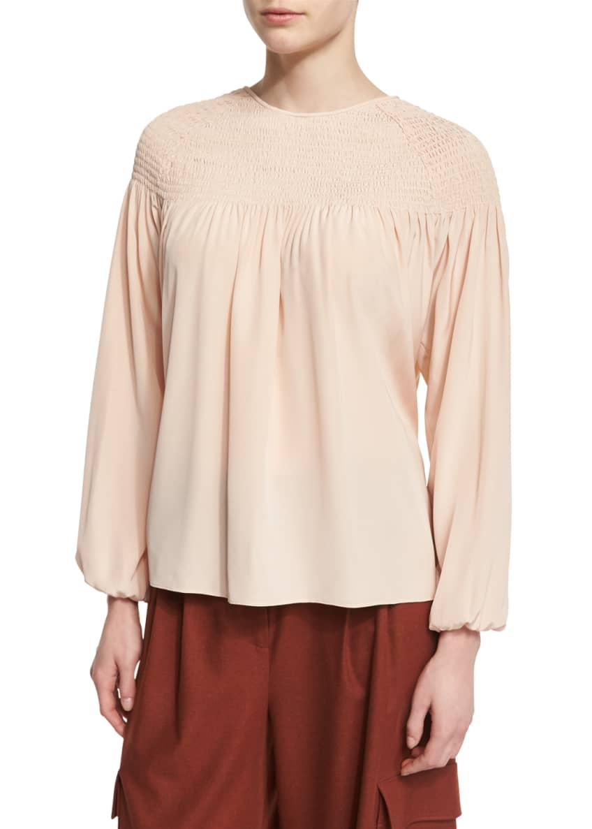 Tibi Shearling Aviator Jacket, Long-Sleeve Smocked Silk Top