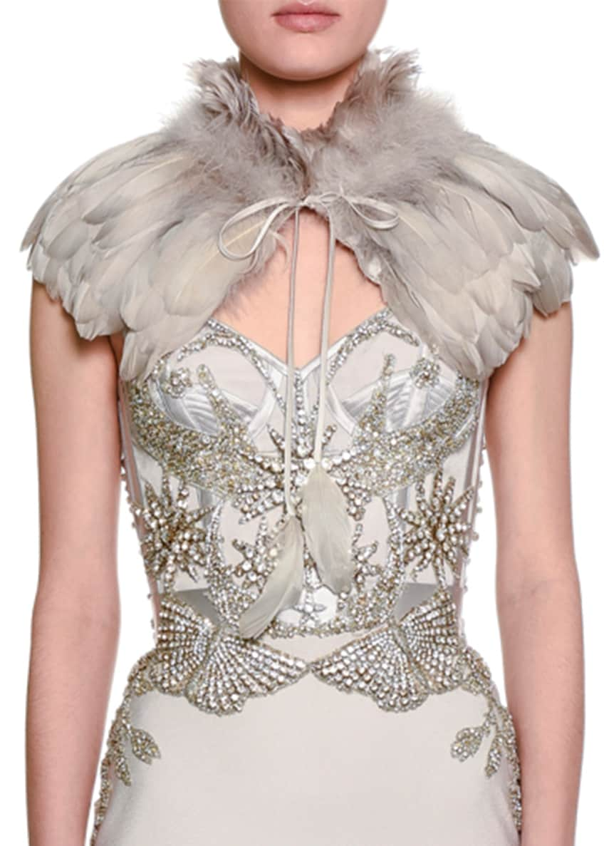 Alexander McQueen Goose Feather Capelet & Crystal-Embellished