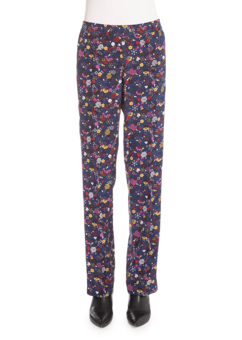 Kenzo Silk Tanami Flower Top & Straight-Leg Pants