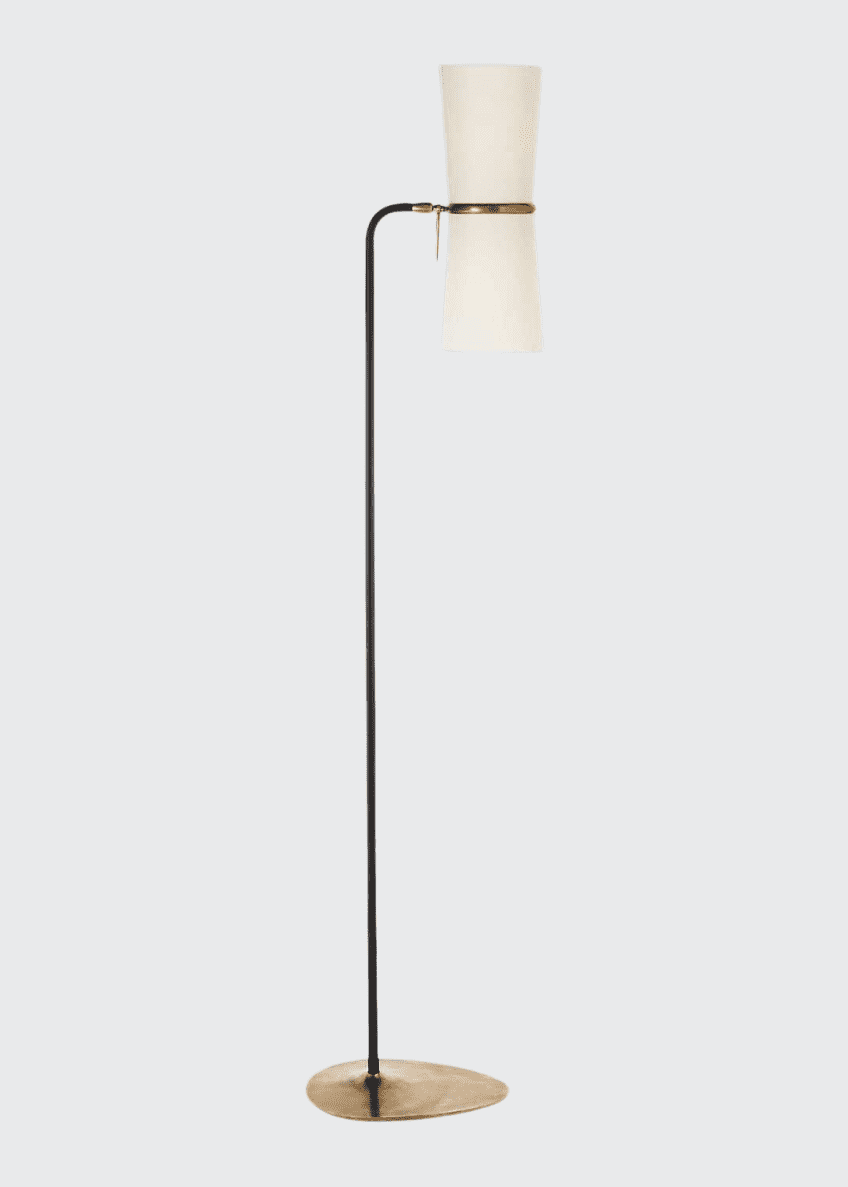 Image 1 of 1: Clarkson Antiqued-Brass & Black Floor Lamp