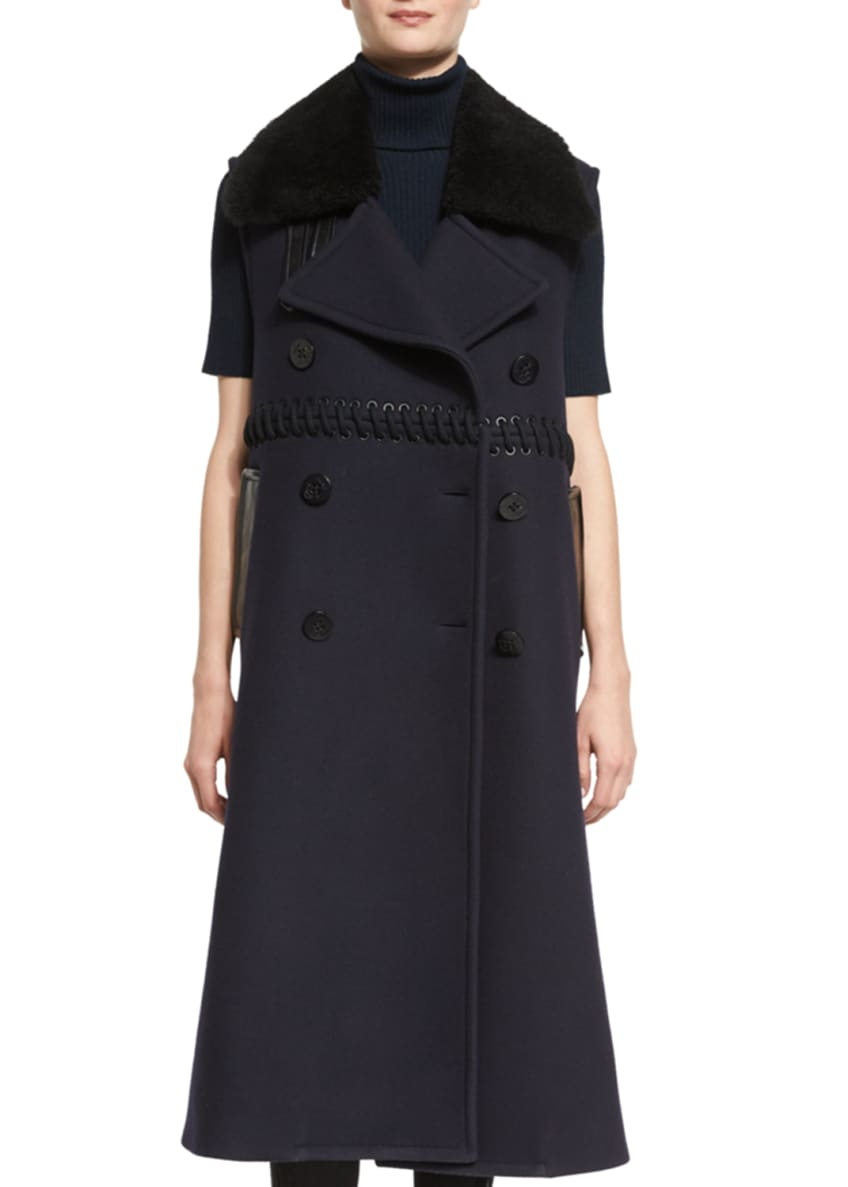 3.1 Phillip Lim Long Double-Breasted Wool Fur-Trim Vest