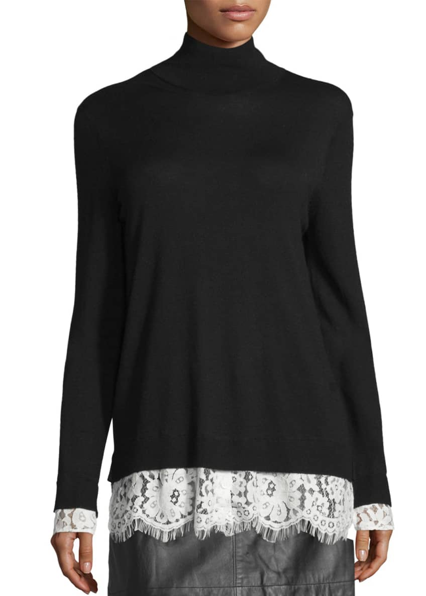 Joie Fredrika Lace-Trim Mock-Neck Sweater & Mayfair Leather