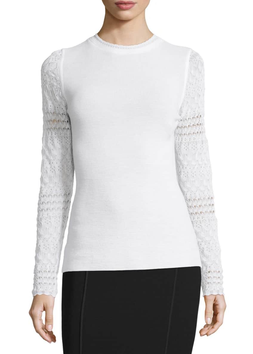 Elie Tahari Theresa Long Crochet-Sleeve Merino Sweater &