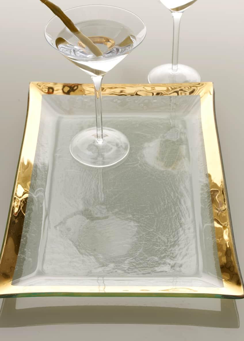 Annieglass Roman Antique Gold Martini Tray