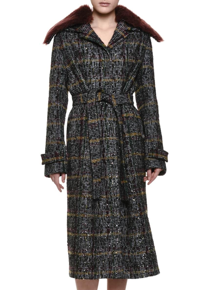 Bottega Veneta Plaid Topcoat w/Shearling Fur Collar &