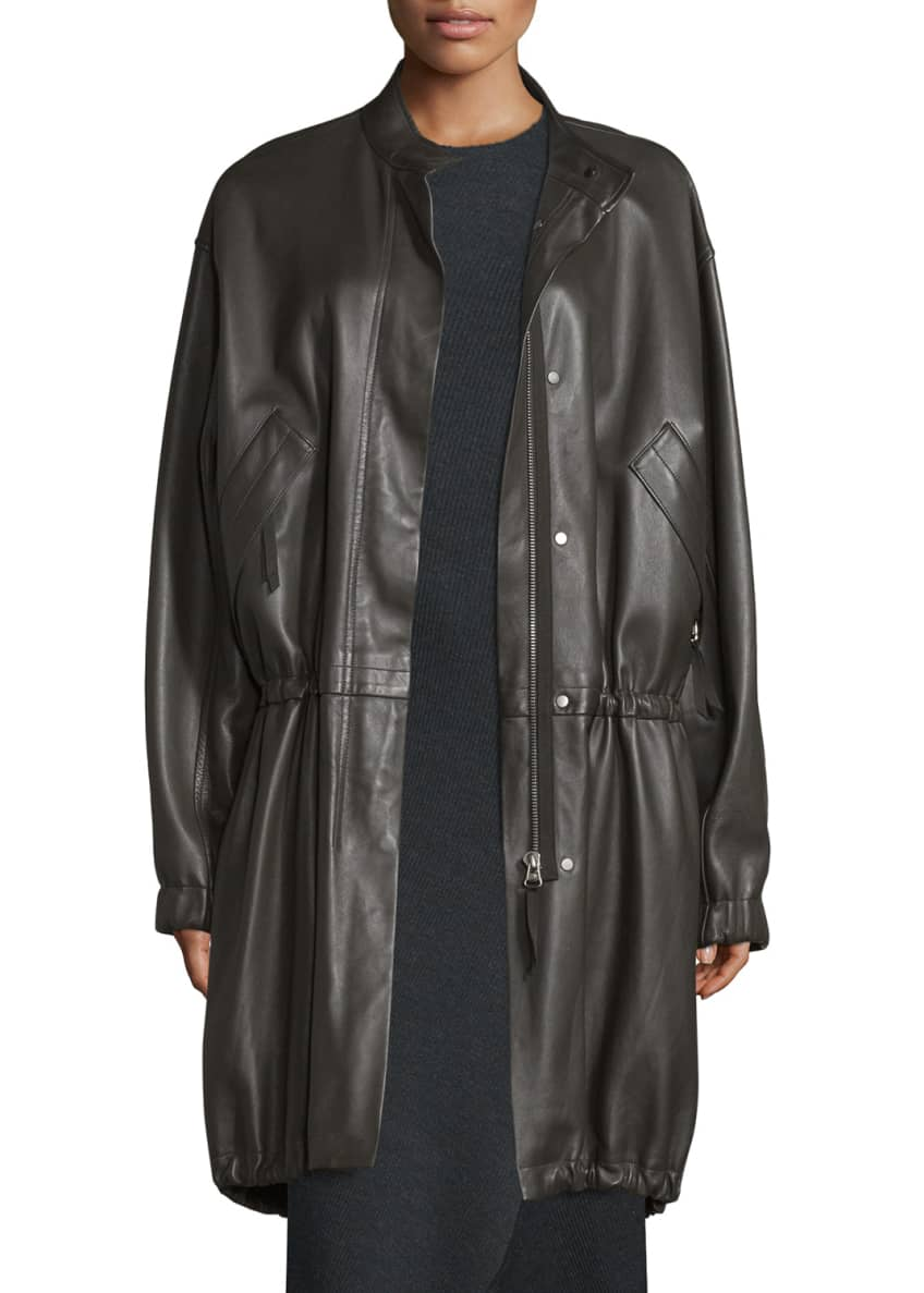 Helmut Lang Leather Zip-Front Parka & Detached-Cuff Knit