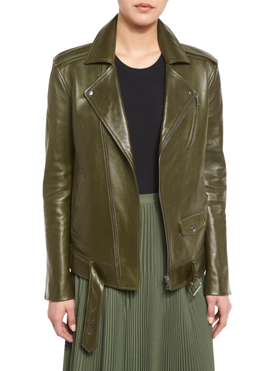 Theory Tralsmin Wilmore Leather Biker Jacket, Tace Tubular