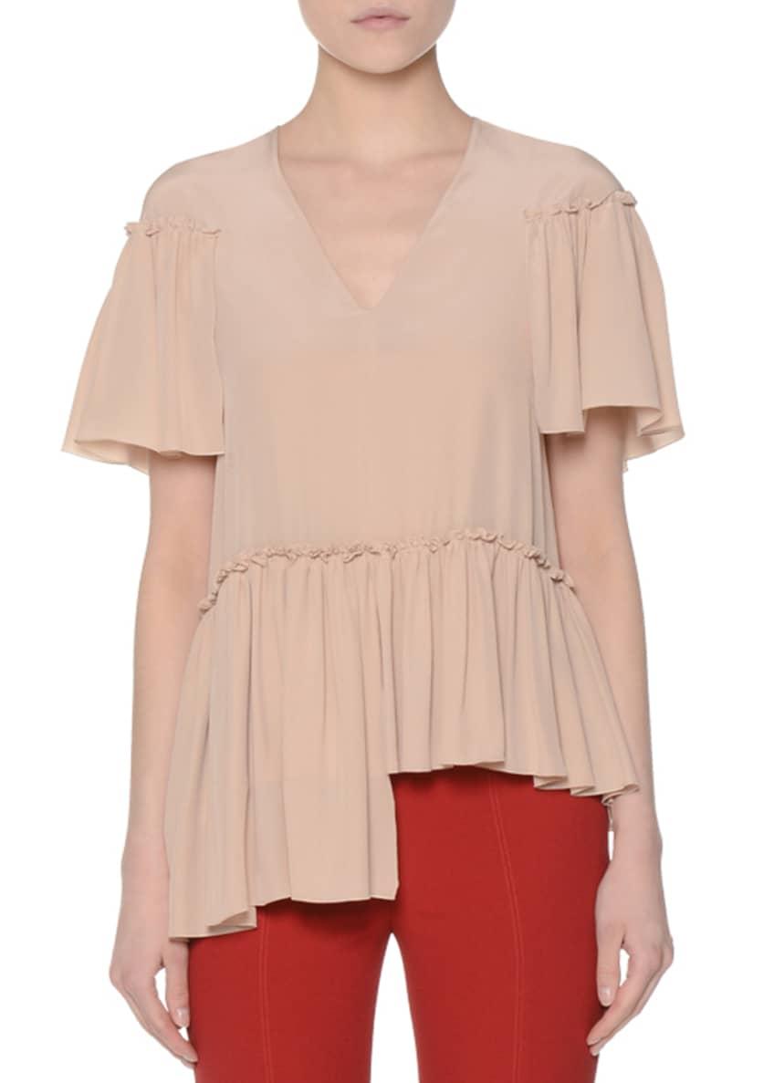 Agnona Ruffled Short-Sleeve Asymmetric Blouse & Side-Zip