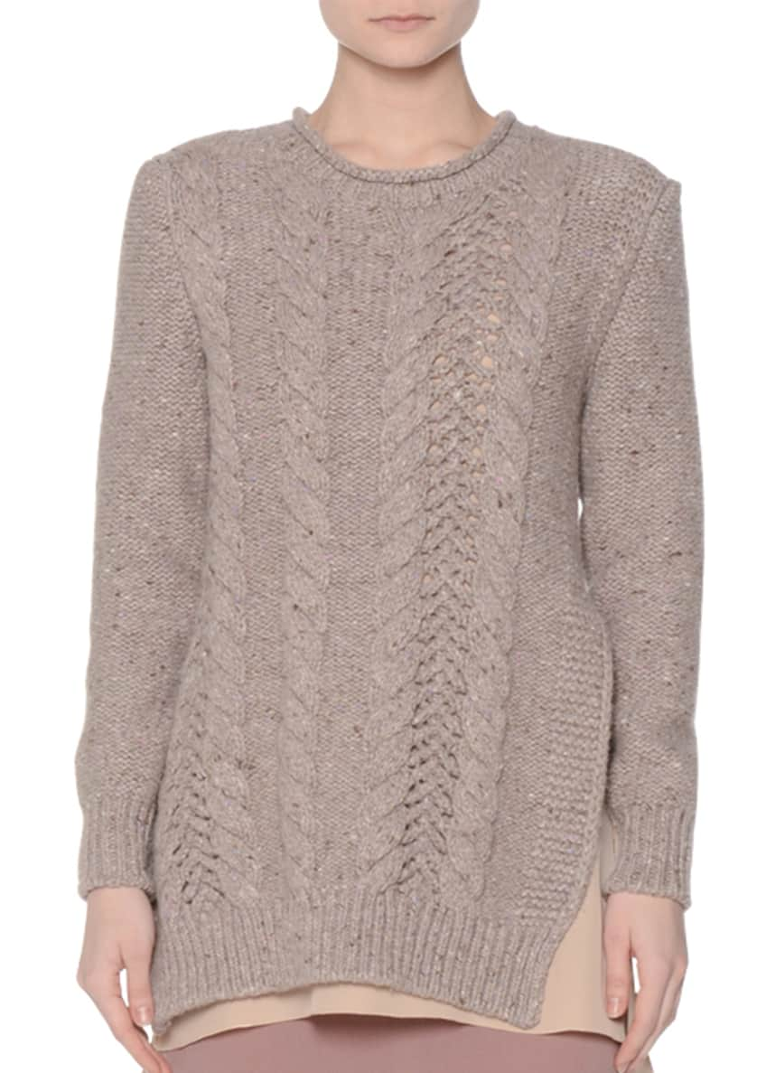Agnona Vented Cable-Knit Pullover Sweater & Stretch Georgette