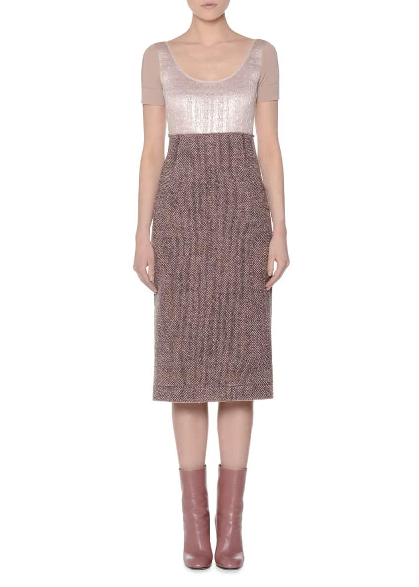 Agnona Long Jersey One-Button Coat & Short-Sleeve Tweed