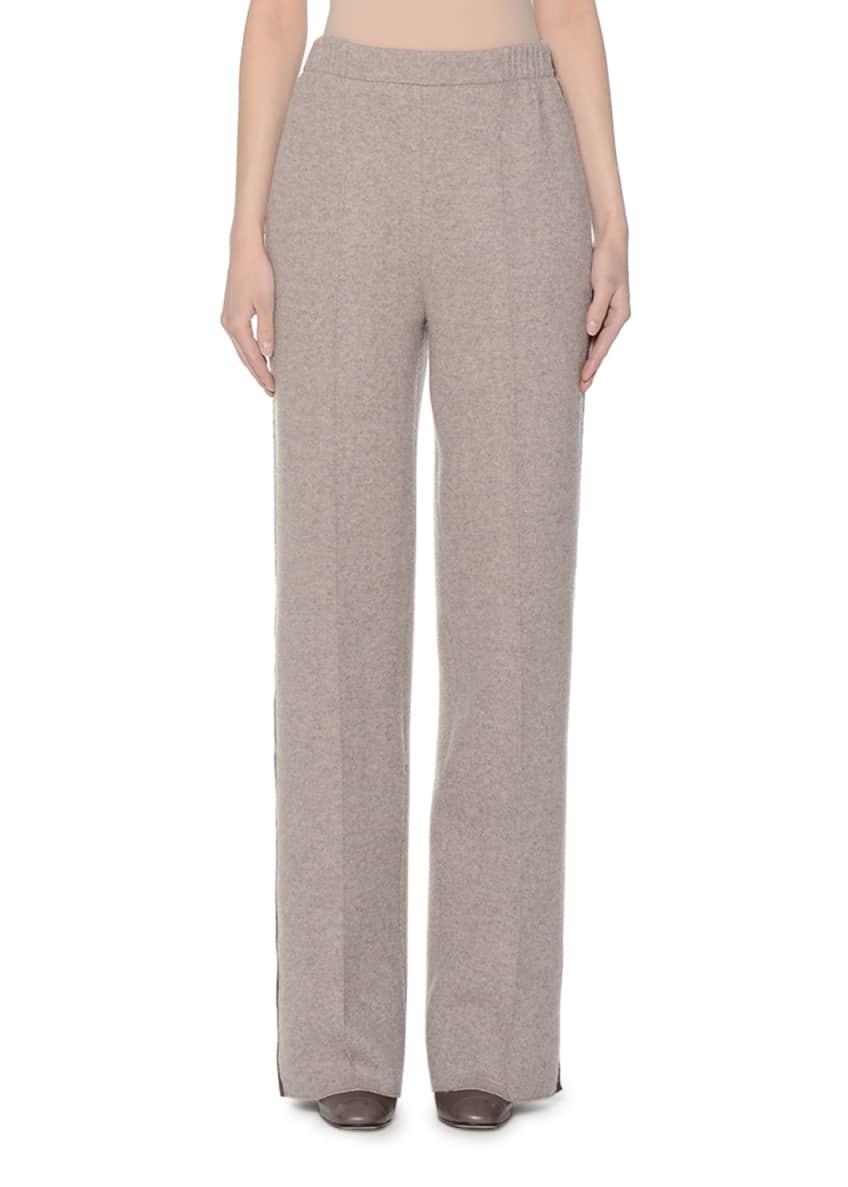Agnona Fur-Trimmed Turtleneck Sweater, Leather Round-Buckle Belt